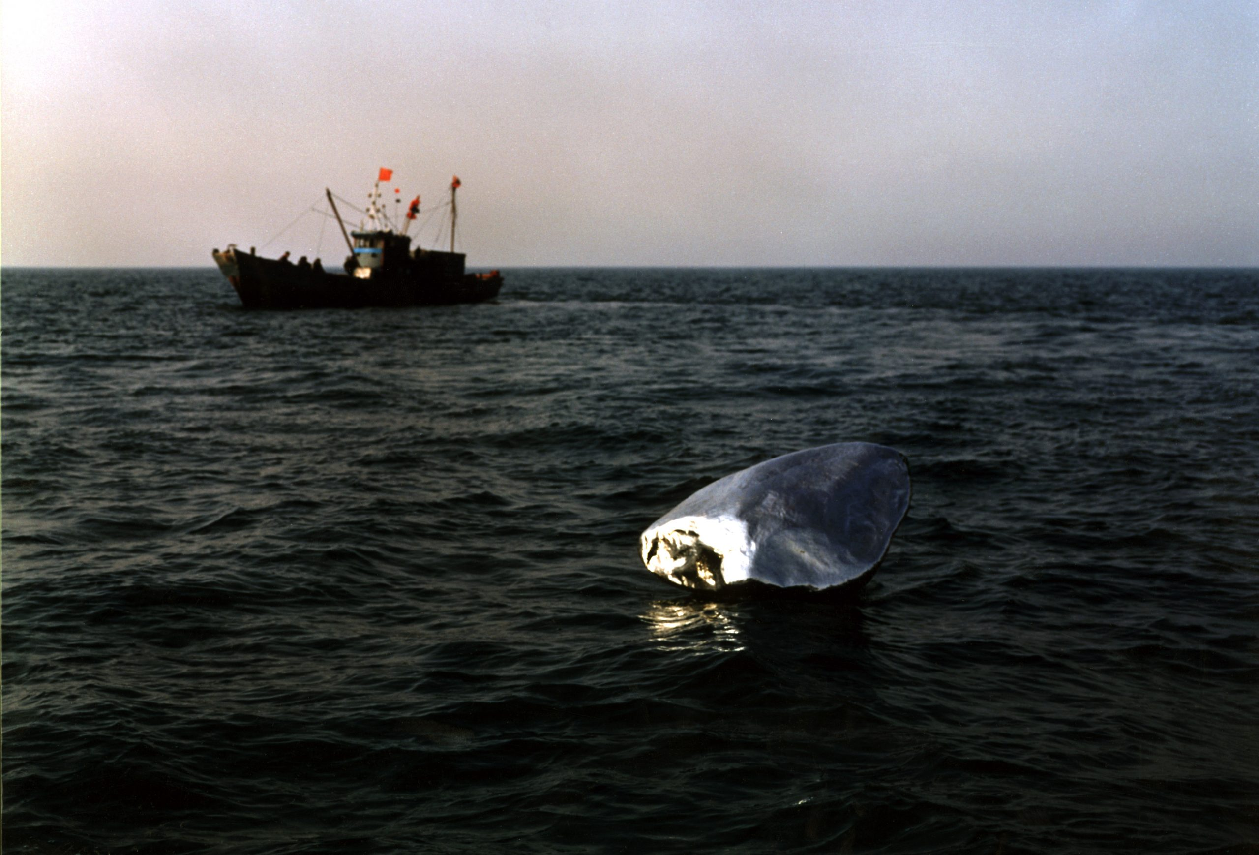A shiny silver object floating in the water with a fishing boat in the background.