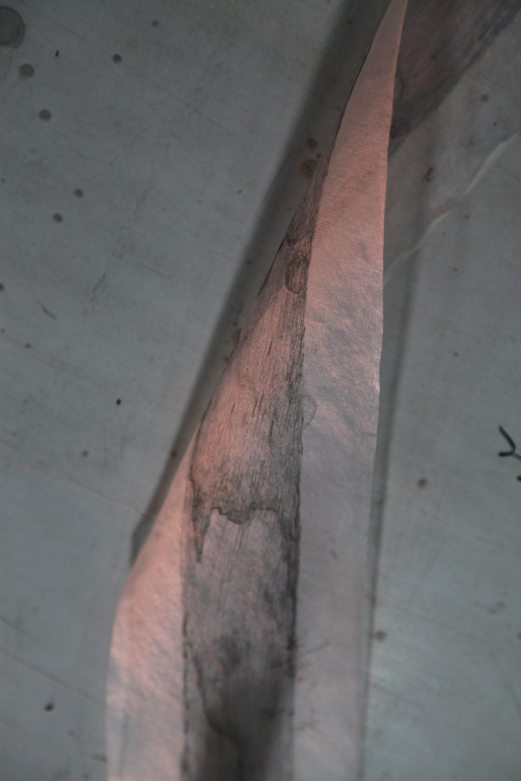 Painted raw silk, a work in progress in Hu Xiaoyuan's studio. Photo courtesy of Hu Xiaoyuan and Beijing Commune.