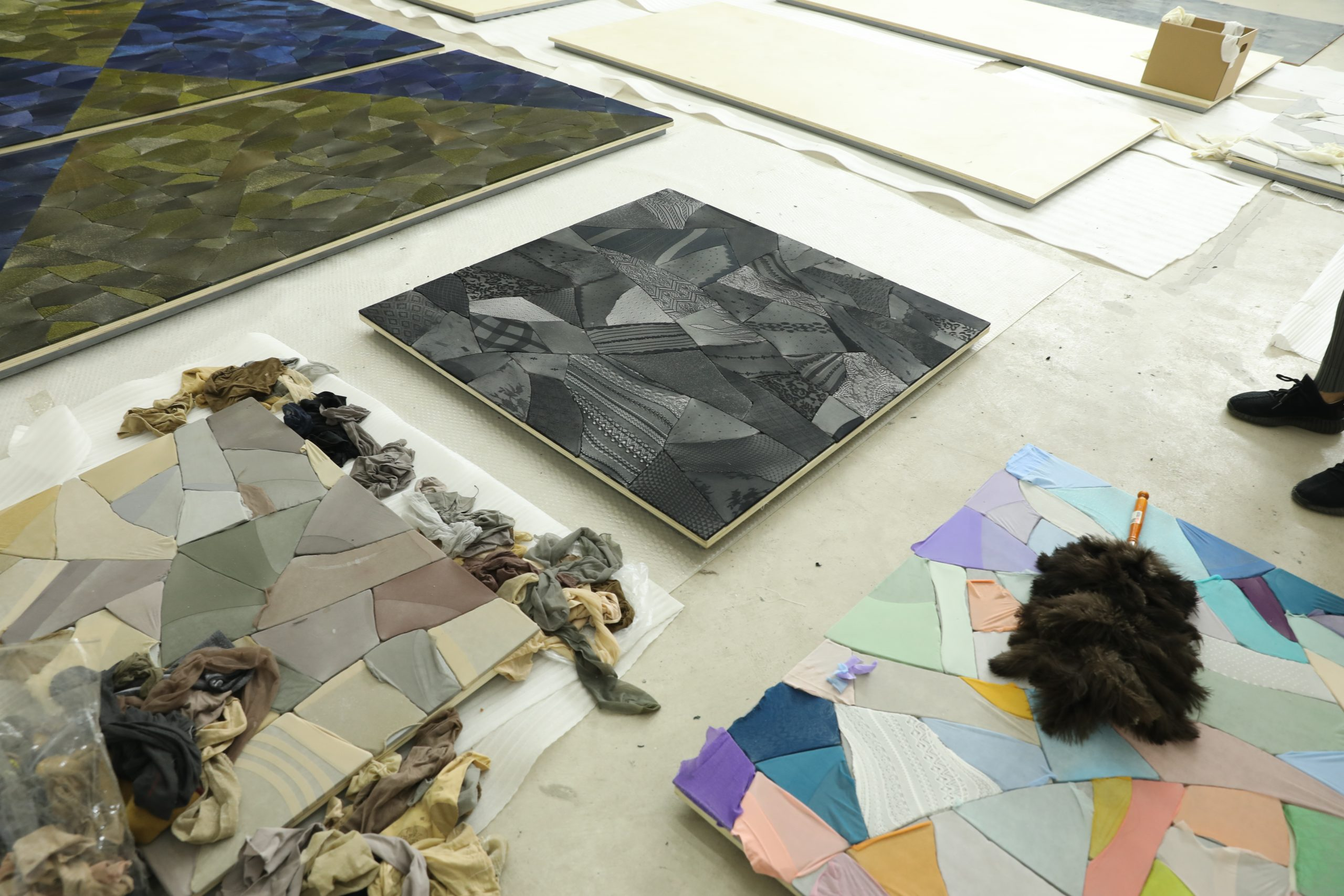 Assorted nylon stockings and works in progress in Ma Qiusha's studio. Photo commissioned by the Smart Museum of Art during an artist interview. Photo by Yaya Rotem.