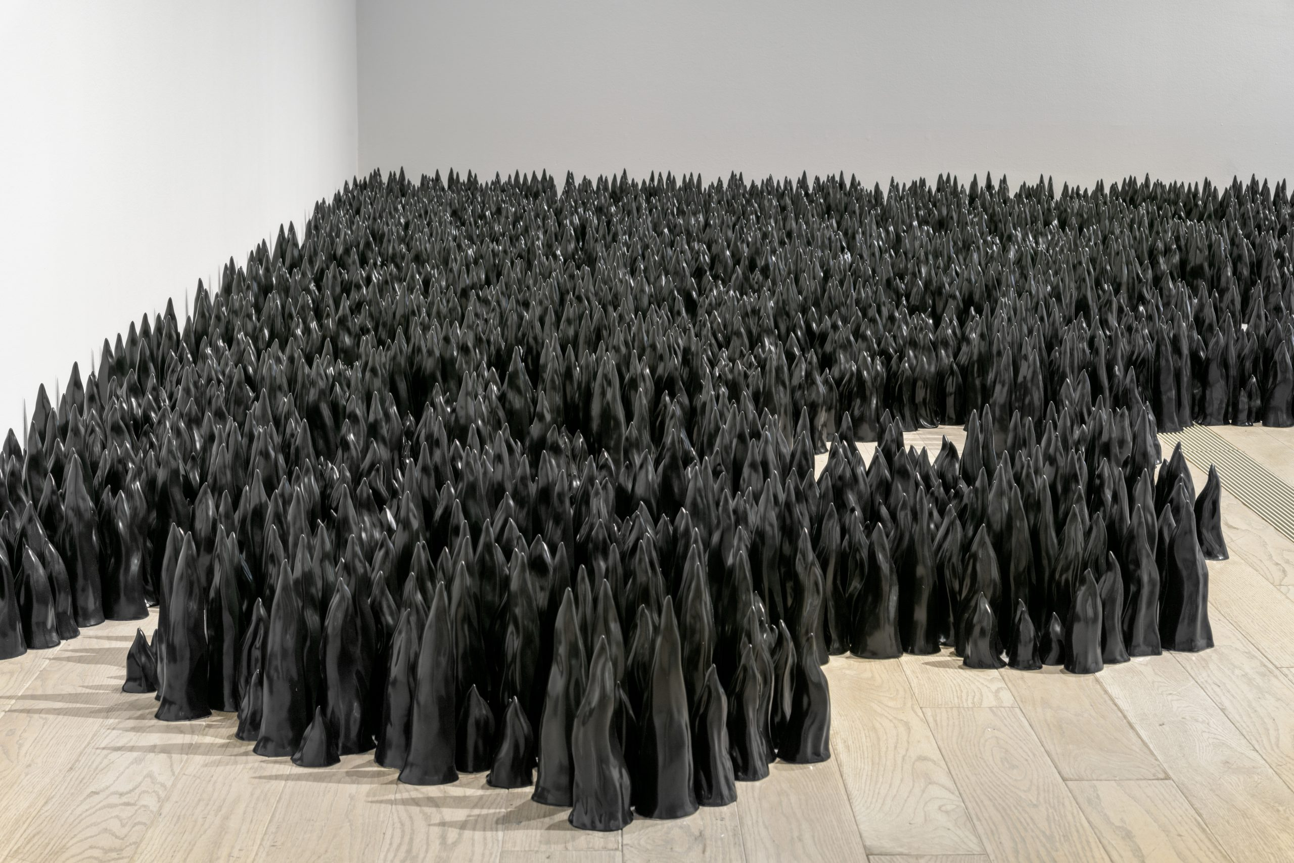 Liu Jianhua, Black Flame, 2017. Installation view, The Allure of Matter: Material Art from China, Los Angeles County Museum of Art, 2019–2020. Photo courtesy of © Museum Associates/LACMA.