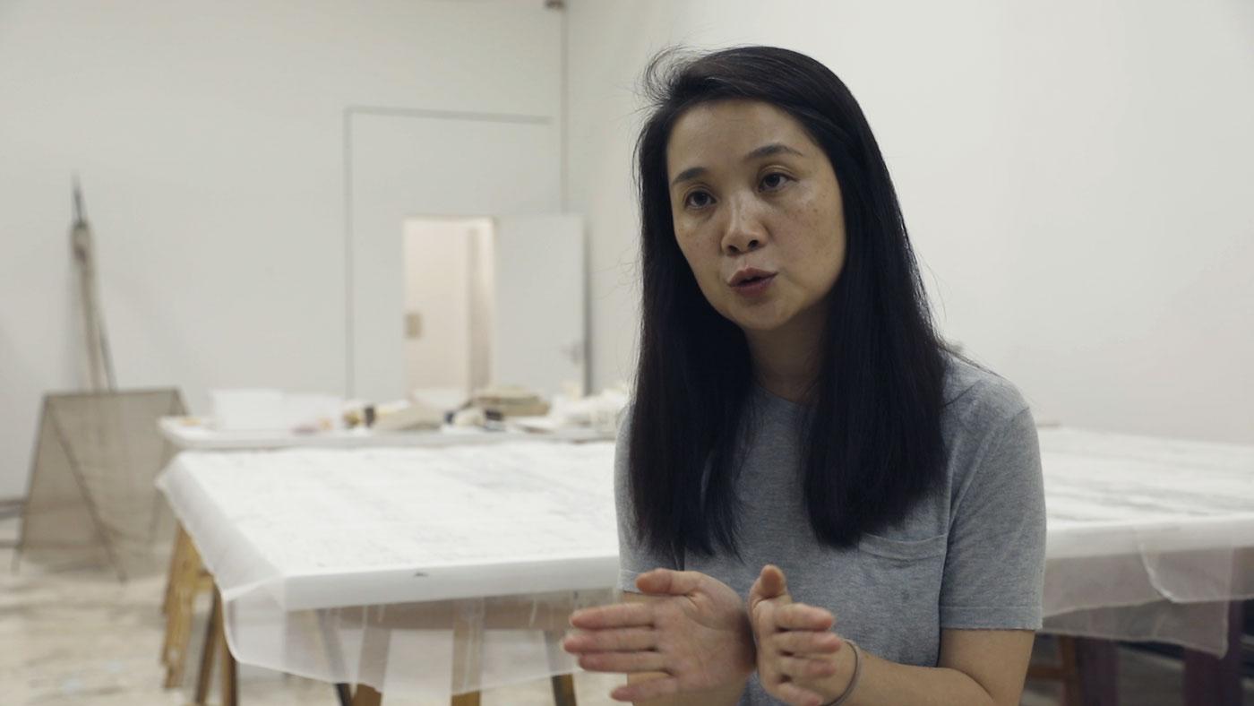 Still from Smart Museum of Art's artist interview with HU Xiaoyuan