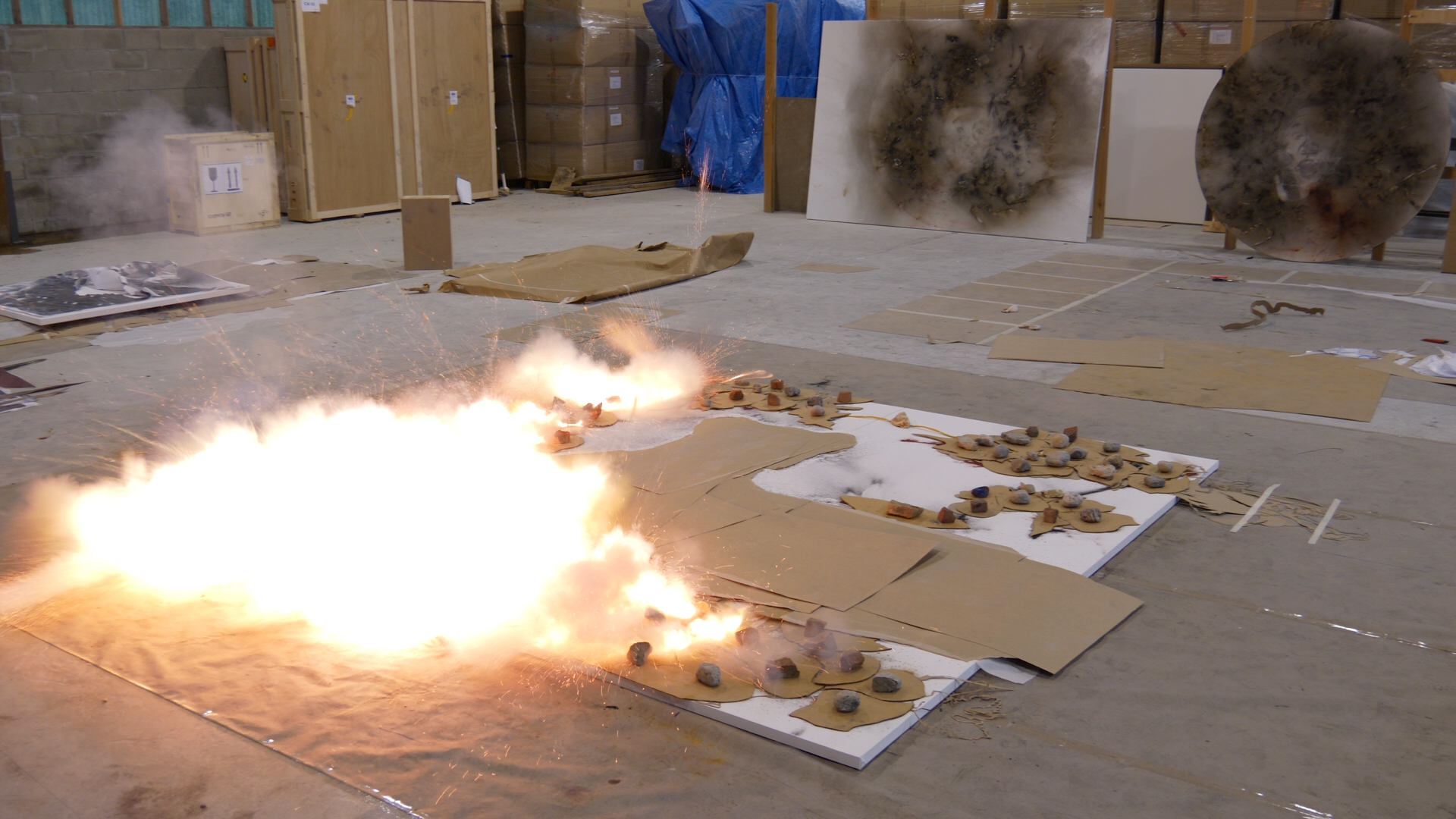 Cai Guo-Qiang creating gunpowder paintings, 2018. Videography by Lin King. Courtesy of Cai Studio.