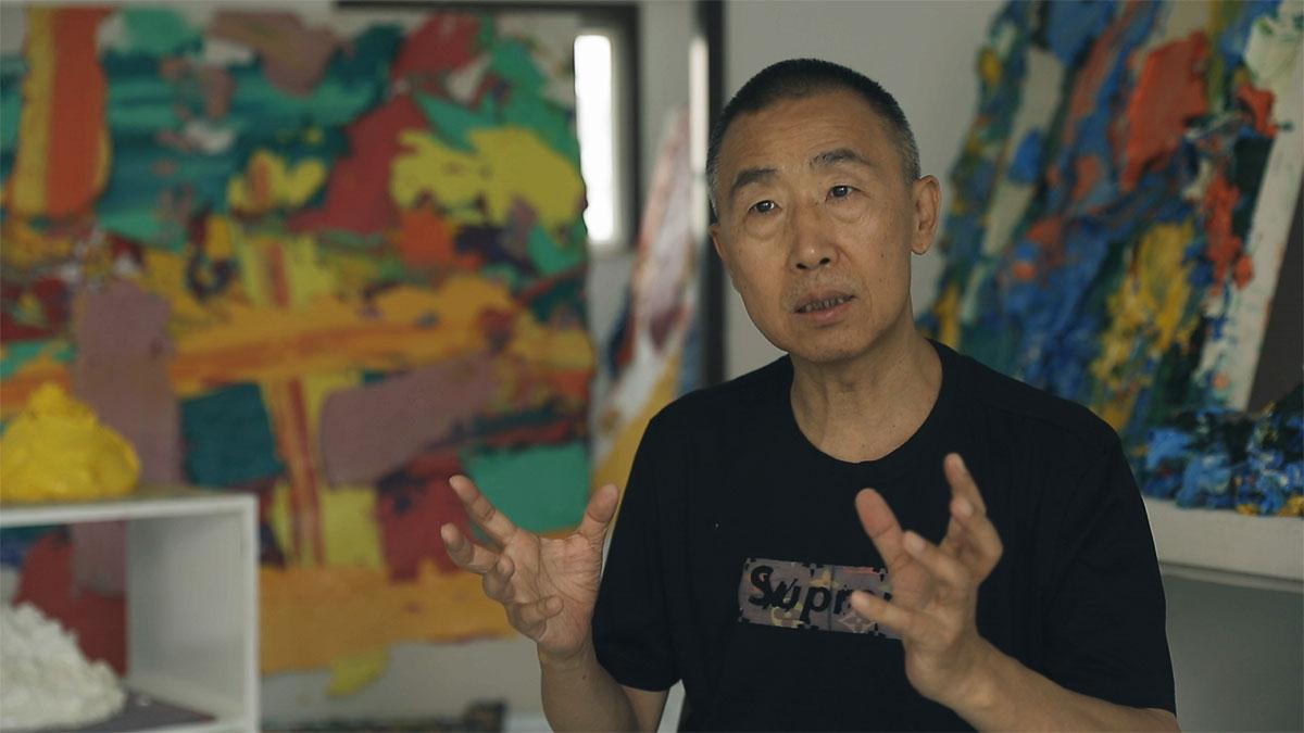 Still from Smart Museum artist interview with Zhu Jinshi