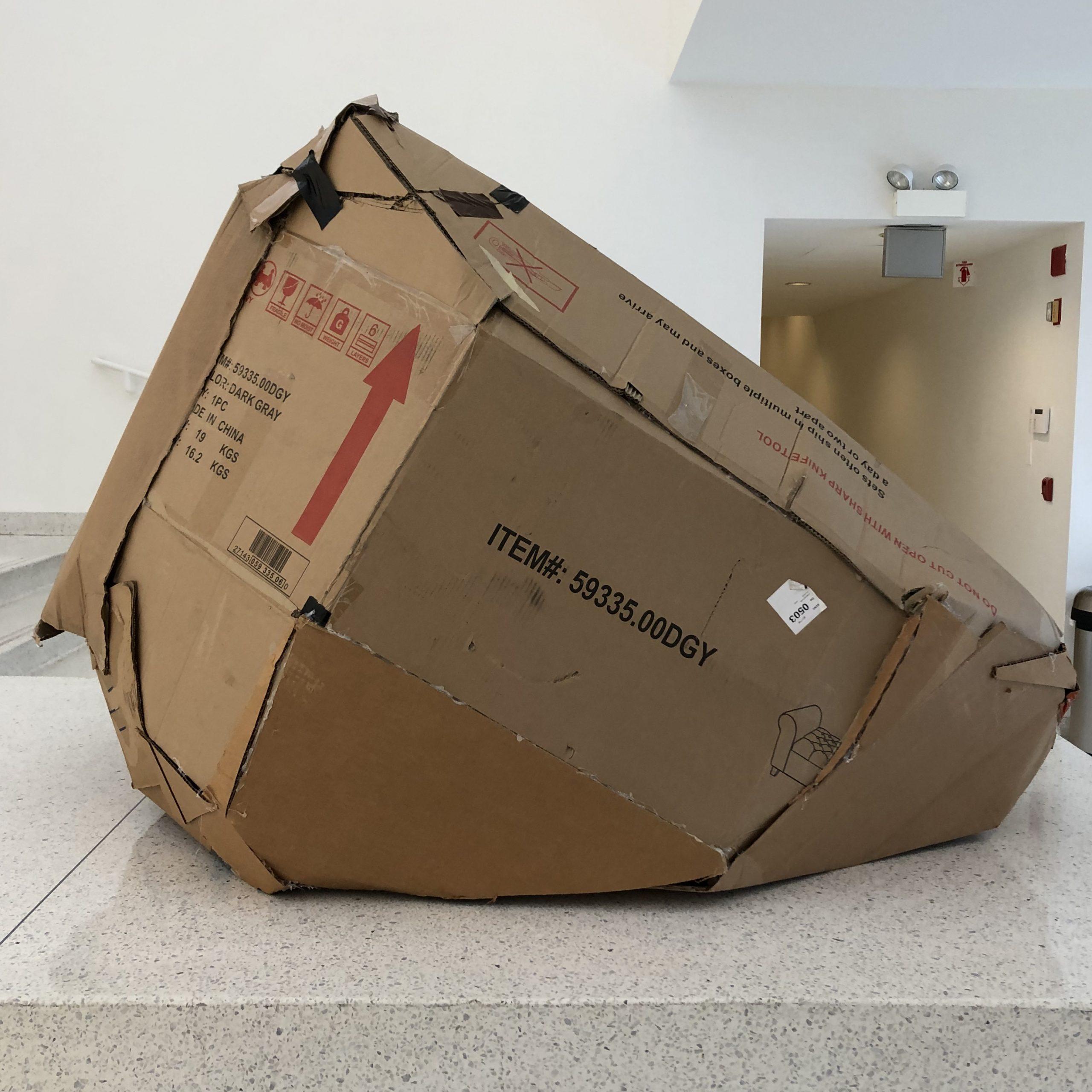 A cardboard boulder.