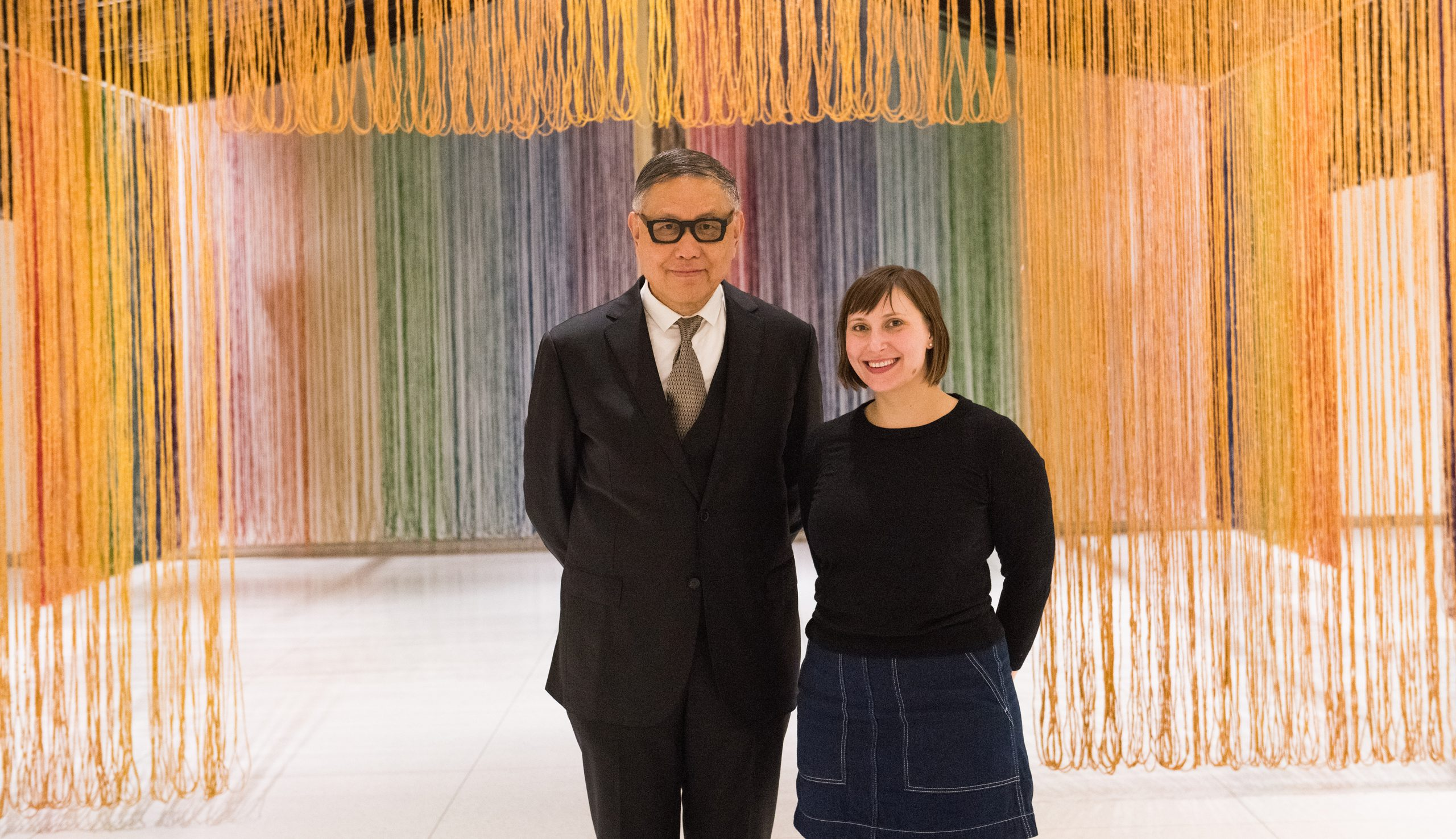 Wu Hung and Orianna Cacchione in front of gu wenda, united nations: american code, 1995–2019