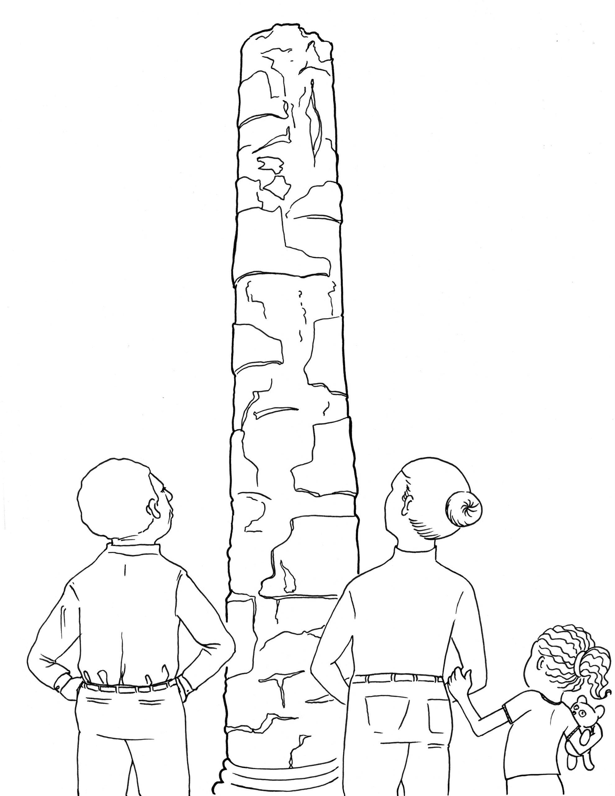 Coloring page inspired by Sun Yuan Peng Yu, Civilization Pillar