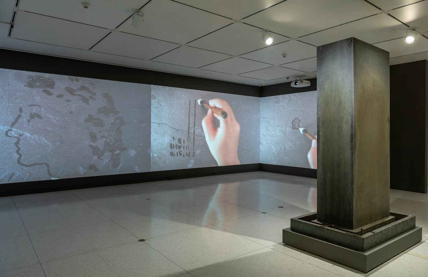 Song Dong, Water Records, 2010, and Traceless Stele, 2016. Installation view, The Allure of Matter: Material Art from China, Smart Museum of Art, 2020.