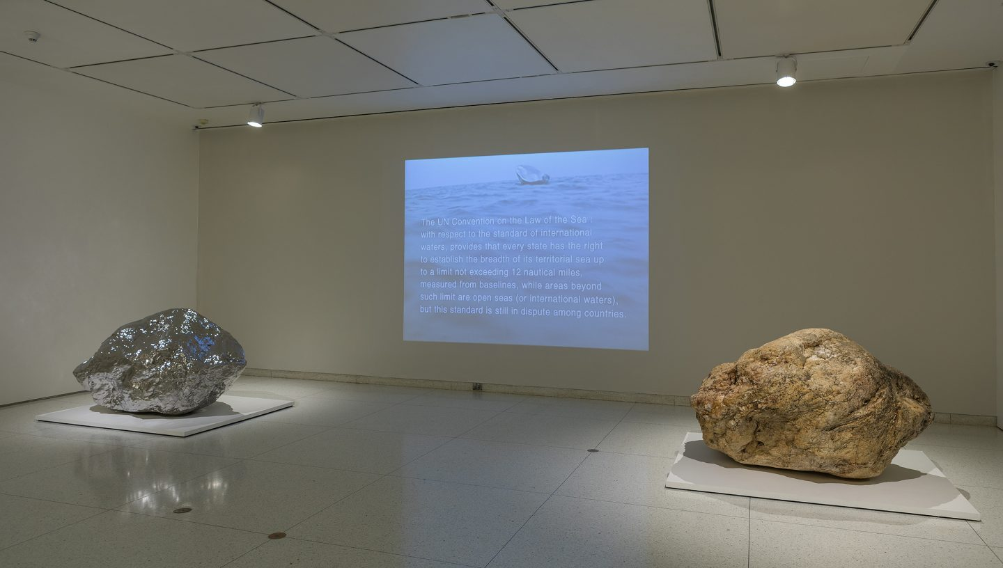 Zhan Wang, Gold Mountain, 2007, and Beyond 12 Nautical Miles—Floating Rock Drifts on the Open Sea, 2000