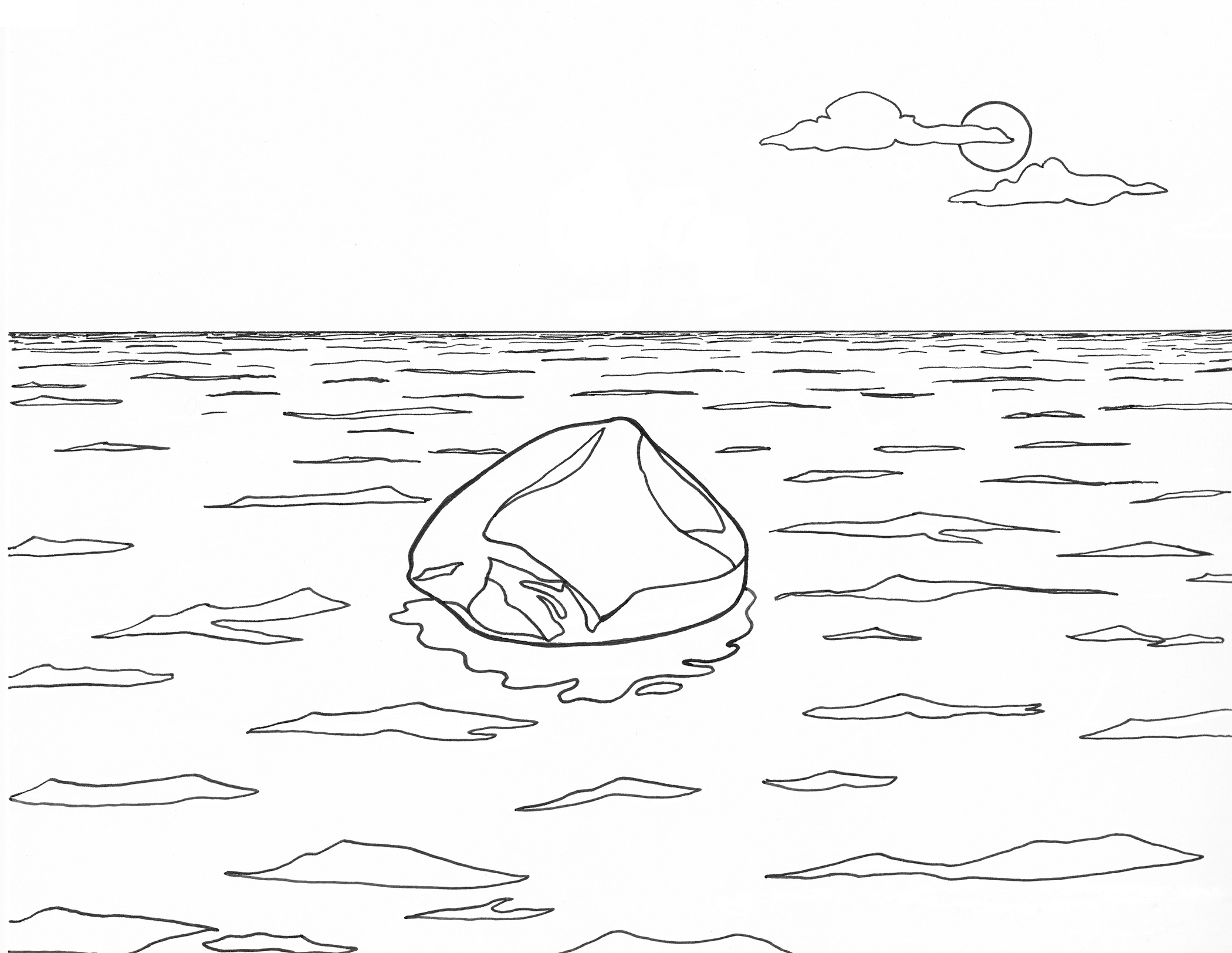 Coloring page inspired by Zhan Wang, Beyond 12 Nautical Miles—Floating Rock Drifts on the Open Sea, 2000. Drawn by Erik L. Peterson for the Smart Museum of Art at the University of Chicago.